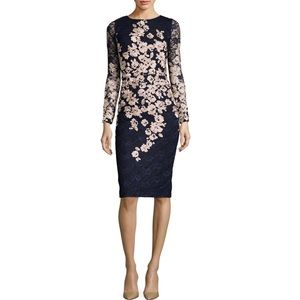 Black & Gold Embroidered Floral Lace Xscape Dress